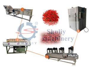 automatic chili pepper washing and drying line