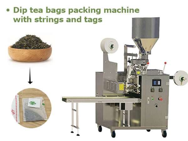 dip tea bags packing machine with strings and tag