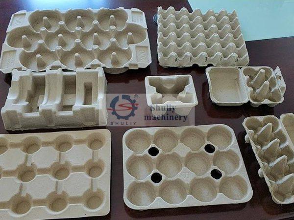 various egg trays cartons