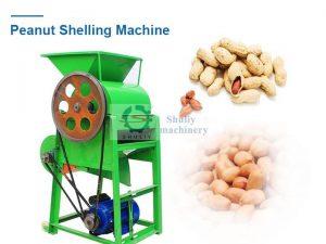 peanut shelling machine with peanuts and peanut kernels