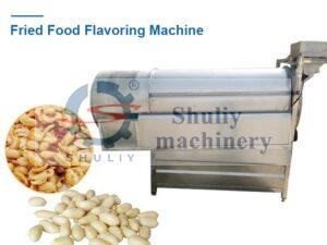Fried food seasoning machine with raw material and final products