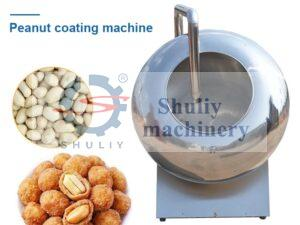 peanut coating machine with raw material and finished products