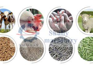 different kinds of animal feed pellets